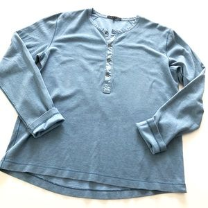 Men's Dusty Blue Button Up Henley by Theory Medium